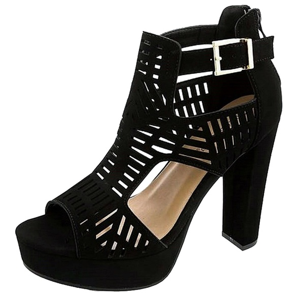 7d1c95e09e3 New Black Open Toe Chunky Heel Platform Sandals Boutique